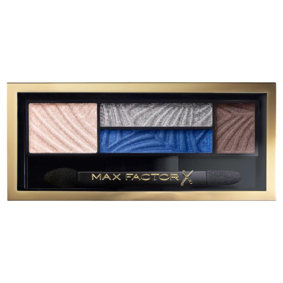 Max Factor 4-хцветные тени для век и бровей Smokey Eye Drama Kit 2 В 1 (06 azzure allure)Max Factor<br>Измени свой образ в 4 простых шага с палеткой теней Max Factor Smokey Eye Drama Kit. Насыщенные пигментом оттенки и пудра для бровей идеально сочетаются друг с другом в одной палетке для создания гламурного макияжа глаз. Тени усиливают интенсивность и подчеркивают цвет глаз, - тебе только остается выбрать палетку, наиболее подходящую к цвету твоих глаз. Оттенок Lavish Onyx идеально подойдет глазам любого цвета, в то время как Azure Allure придаст выразительность голубым глазам. <br>Способ применения:<br>Lavish Onyx идеально подойдет глазам любого цвета Azure Allure придаст выразительность голубым глазам Sumptuous Golds и Opulent Nudes придадут сияния карим глазам Magnetic Jades сделают выразительными глаза орехового оттенка Luxe Lilacs прекрасно оттенит зеленые глаза<br>Особенности состава:<br>Каждая палетка содержит яркие пигменты, обогащенные бальзам-компонентами для идеально гладкого и равномерного нанесения. Эти запечённые тени содержат более высокую концентрацию перламутра по сравнению с классическими тенями – для превосходного блеска.<br>Мнение эксперта:<br>Глобальный креативный директор Max Factor Пэт Макграт говорит: «Оттенки металлик или блестящие текстуры усиливают основные цвета макияжа и создают 3D-эффект. Наносите такие тени на внутренние уголки глаз или по центру подвижного века, чтобы «подсветить» глаза, сделать макияж более свежим».<br>Состав:<br>слюда, тальк, демитикон, диоксид кремния, нейлон-12, стеарат магния, нитрид бора, ,метилпарабен, пропилпарабен, CI77891, CI77499, CI491, CI492, CI77007, CI77493<br><br>Вес г: 52<br>Бренд : Max Factor<br>Объем мл: 1<br>В комплекте : зеркальце<br>Способ нанесения : влажный<br>Эффект на веках : сатиновый<br>Тип теней : палитра теней<br>Страна производитель : КАНАДА