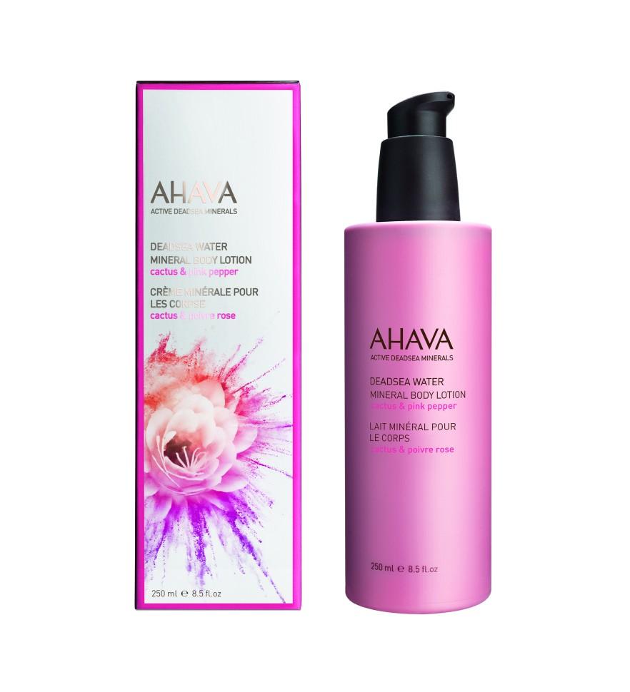 Ahava Deadsea Water Минеральный крем для тела кактус и розовый перец 250 млAhava<br>Мягкий крем для тела, содержащий  Osmoter™ и питательные растительные элементы, повышающие уровень увлажненности кожии придающие ей комфорт и приятные ощущения на весь день. Быстро впитывается, идеально подходит для утреннего нанесения и использования летомЯвляясь единственной косметической компанией, расположенной на берегу Мертвого моря, цель и задача AHAVA состоит в том, чтобы предоставить достоинства Мертвого моря путем использования своих самых необычных ингредиентов и создания инновационных и эффективных продуктов для потребителей во всем мире.Способ применения:<br>Нанести небольшое количество на чистую кожу тела, распределить широкими движениями.<br>Особенности состава:<br>*Вся продукция не содержит парабены*Вся очищающие средства не содержат SLS / SLES (лаурет сульфат натрия). *Не содержит продуктов нефтепереработки, агрессивных синтетических ингредиентов и ГМО*Вся продукция гипоаллергена и опробована на чувствительной кожи.*Не тестируется на животных*Вся упаковка подлежит вторичной переработке*Вся продукция содержит формулу Osmoter™Состав:<br>Aqua (Mineral Spring Water(, Ethylhexyl Palmitate, Cetearyl Alcohol, Ceteareth-30, Cetyl Alcohol, Glycerin, Propanediol (Corn derived Glycol), Sodium Cetearyl Sulfate, Caprylyl Glycol, Chlorphenesin, Phenoxyethanol, Maris Aqua (Dead Sea Water), Dimethicone, Parfum (Fragrance),Aloe Barbadensis Leaf Juice, Hamamelis Virginiana (Witch Hazel) Water, Butylphenyl Methylpropional, Limonene, Hydroxycitronellal<br><br>Вес г: 320<br>Бренд : Ahava<br>Объем мл: 250<br>Возраст : 12+<br>Страна производитель : Израиль