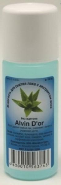 ALVIN DO*R Жидкость для снятия лака без ацетона с экстрактом АлоэAlvin D`or<br>Легко удаляет любой лак, ухаживает, питает и укрепляет ногти. Состав: этилацетат, бутилацетат, вода деионизированная, экстракт Алоэ, глицерин, витамин Е, парфюмерная композиция.<br><br>Вес г: 110<br>Бренд: Alvin Do*r<br>Объем мл: 100<br>Страна производитель: Франция