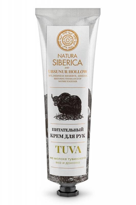 Натура Сиберика TUVA Крем для РУК питательный 75млУход за руками<br>Питательный крем для рук бережно ухаживает за вашей кожей, <br>способствует сохранению молодости и дарит несравненную мягкость вашим <br>рукам.<br><br> Молоко тувинского яка – жизненный источник силы для вашей кожи. <br>Богатое минеральными веществами и витаминами, оно увлажняет и насыщает <br>кожу необходимыми элементами, предотвращая ее пересыхание.<br><br> Донник, собранный на одной из наших сертифицированных органических <br>ферм , увлажняет и защищает кожу тонизирующим эффектом, замедляя <br>увядание кожи.<br><br>Вес г: 105<br>Бренд : Натура Сиберика<br>Объем мл: 75<br>Средство для рук : крем<br>Страна производитель : Россия