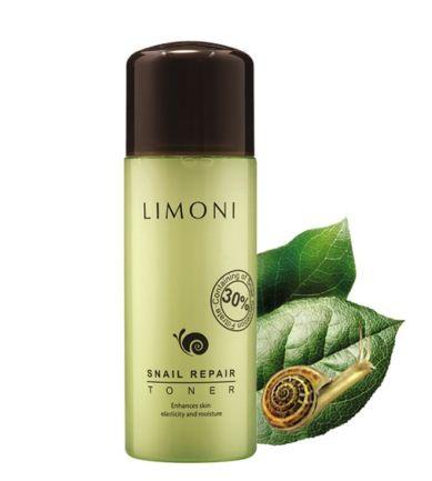 Limoni Snail Repair toner Тоник восстанавливающий 150 млУход для лица<br>Тоник Limoni Snail Repair восстанавливающий с экстрактом секреции улитки.Тип кожи: для всех типов кожиЭффект: увлажняющий, восстанавливающий, противовоспалительныйНе содержит: спирта, икуственных красителей, парабенов, минерального масла, животных жиров.Возраст: 15+Объем: 150Восстанавливающий тоник Snail Repai от Лимони содержит до 30% экстракта слизи улитки, которая направлена на регенерацию клеток кожи. Предназначен для ежедневного мягкого отшелушивания и очищения кожи. Тоник ускоряет обновление верхнего слоя кожи, выравнивает текстуру, устраняет черные точки и предотвращает закупорку пор, смягчает кожу, уменьшает пигментацию, регулирует кислотно-щелочной баланс кожи. Убирает чувство стянутости после умывания. Тоник бережно очищает кожу лица и улучшает проникновение нанесенных следом уходовых средств (сывороток, кремов).Основные ингридиенты:*Экстракт секреции улитки — активно способствует сужению пор, заживлению рубцов и шрамов, повышает защитную функцию кожи.<br>*Гидрогенизированный лицетин — активизирует липидный обмен в коже, смягчает ее, оптимизирует функцию сальных желез. Способствует восстановлению барьерных функций кожи и препятствует испарению влаги из глубоких слоев. <br>*Трипептид меди 1 при взаимодействии с аденозином — восстанавливает клетки кожи, разглаживая мелкие морщинки.<br>*Растительные экстракты (полыни горькой, цветов арники горной, корня горечавки, <br>тысячелистника) — успокаивают раздраженную, чувствительную кожу, уменьшают <br>воспаления, оказывают антибактериальное действие, защищают клетки кожи от <br>воздействия свободных радикалов и замедляют процессы старения.Способ применения:После этапа очищения нанесите небольшое количество тоника Limoni Snail Repair на ватный диск, протрите лицо по массажным линиям, от центра к краям, избегая области губ и глаз. Рекомендуется применять ежедневно, утром и вечером.<br><br>Вес г: 100<br>Бренд : Limoni<br>Тип кожи : все типы кожи<