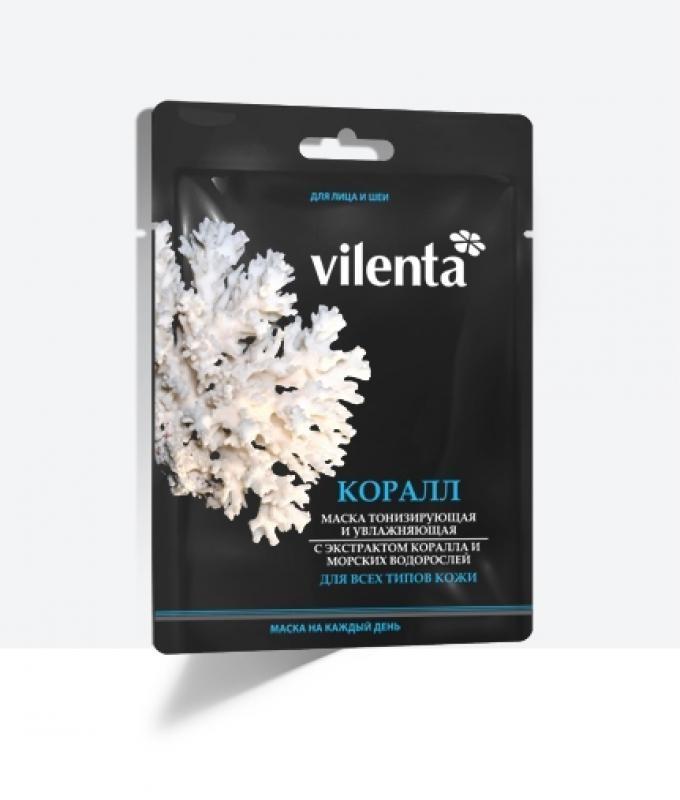 VILENTA Маска тканевая плацентарная Коралл и водоросли+тонизирующая и увлажняющаяVilenta<br>Содержащиеся в морских минералах (кораллах) и водорослях биологически-активные вещества, минералы, микроэлементы являются мощным оружием против потускневшего цвета лица и, нормализуя секрецию сальных желез, позволяют бороться с угревой сыпью, стимулируют кровообращение и клеточное дыхание. Экстракт морских водорослей является самым мощным природным увлажнителем. Маска способствует синтезу коллагена и эластина, ответственных за упругость кожи, замедляется процесс старения клеток. Маска помогает преодолеть утомление кожи, устраняет последствия стрессов, недосыпания, излучения от компьютера и телевизора, неблагоприятных воздействий окружающей среды, негативно влияющих на кожу лица.<br><br>Вес г: 60<br>Бренд : Vilenta<br>Объем мл: 40<br>Тип кожи : все типы кожи<br>Консистенция маски : тканевая<br>Часть лица : лицо<br>По времени суток : дневной уход<br>Назначение маски : увлажняющая, противовоспалительная, подтягивающая<br>Страна производитель : Китай