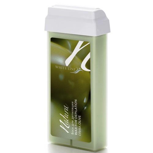 White line Воск Natura в картридже 100мл ОливаWhite line<br>Теплый плотный воск, обогащен растительными маслами, витамином Е и диоксидом титана. Эффективно удаляет короткие и жесткие волосы. Диоксид титана способствует лучшему прилипанию волос, оставляя кожу защищенной, уменьшает болевые ощущения в процессе депиляции. Картриджи воска «Олива» имеют литую форму. Способ применения: поместить картридж в соответствующий подогреватель, разогреть до необходимой температуры, нанести воск при помощи шпателя или ролика по росту волос, затем наложить бумагу для депиляции на зону нанесения воска и удалить бумагу резким движением параллельно коже против роста волос. Рекомендован для сухой, обезвоженной и чувствительной кожи. Страна-производитель — Италия.<br><br>Вес г: 150<br>Бренд: White Line<br>Объем мл: 100<br>Тип кожи: сухая, чувствительная, все типы кожи<br>Тип средства для депиляции: воск в картридже, воск
