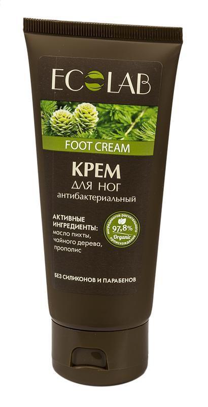 Ecolab Крем для ног АнтибактериальныйДля тела<br>Антибактериальный крем для ног Ecolab содержит более 97% ингредиентов растительного происхождения. Не содержит парабенов и силиконов.<br><br>Вес г: 120<br>Бренд : Ecolab<br>Объем мл: 100<br>Страна производитель : Россия