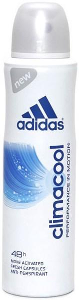 Adidas Део-спрей АП для женщин ClimacoolAdidas<br>Дезодорант-спрей женский Adidas Climacool — это действенный дезодорант, который не содержит спирт или парабены, а значит абсолютно безопасен для кожи. Дезодорант на основе натуральных антисептических веществ, способствует сокращению количества бактерий, которые вызывают неприятный запах, при этом средство не раздражает кожу. Дезодорант подходит для очень чувствительной кожи, не составляет ощущение липкости и следов на одежде.<br><br>Вес г: 220<br>Бренд : Adidas<br>Объем мл: 250<br>Тип дезодоранта : спрей<br>Страна производитель : Испания