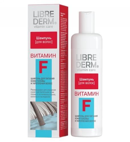 LIBREDERM ВИТАМИН F Шампунь препятствует выпадению волос и появлению перхотиLibrederm<br>Витамин F необходим для нормального функционирования клеточных <br>мембран, участвует в регуляции подкожного жирового обмена. При <br>недостатке витамина F развивается сухость кожи, появляются очаги <br>шелушения, волосы, не получая полноценного питания, истончаются и <br>начинают выпадать. Шампунь «Витамин F» предназначен для мягкого очищения<br> сухой чувствительной кожи головы и истонченных волос, склонных к <br>выпадению.Способствует восполнению недостатка витамина F, уменьшая сухость и <br>шелушение кожи. Укрепляет корни волос. Придает волосам силу, упругость, <br>блеск, утолщает и укрепляет их. Активно борется с шелушением, избавляя от перхоти.<br><br>Вес г: 280<br>Бренд: Librederm<br>Объем мл: 250<br>Тип волос: сухие, поврежденные, тонкие и ослабленные<br>Действие: укрепление, восстановление, против перхоти, от выпадения волос<br>Тип средства для волос: шампунь<br>Страна производитель: Россия
