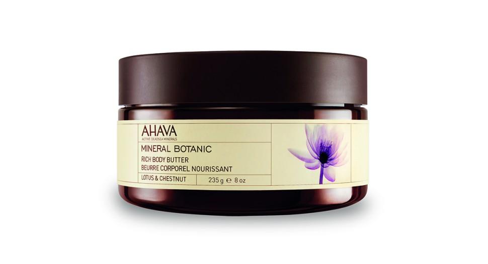 Ahava Mineral Botanic Насыщенное масло для тела лотос и благородный каштан 235 грAhava<br>Мягкое и ультра питательное крем-масло для тела обеспечивает интенсивное увлажнение в течение всего дня. Масло персика, масло Ши смягчают и питают вашу кожу. Нежное сочетание лотоса и сладкого каштана обладает уникальными защитными свойствами. Питательное крем-масло для тела используется для сухой кожи в качестве увлажнения.Текстура питательнее, по сравнению с другими кремами и лосьонами, так как они имеют меньше воды в формуле.Крем-масло для дела содержат большое количество питательных ингредиентов, которые легко впитываются в кожу и сохраняют ее увлажненной в течении длительного времени.Крем-масло для тела образует защитный слой на поверхности кожи, уменьшая влияние солнца и экологических агрессивных факторов, защищая от сухого и холодного климата.Многие потребители считают, что их кожа стала гораздо мягче и менее склонна к сухости , когда они используют крем-масло для тела.Являясь единственной косметической компанией, расположенной на берегу Мертвого моря, цель и задача AHAVA состоит в том, чтобы предоставить достоинства Мертвого моря путем использования своих самых необычных ингредиентов и создания инновационных и эффективных продуктов для потребителей во всем мире.Способ применения:<br>Нанести необходимое количество на очищенную кожу массирующими движениями до полного впитывания<br>Особенности состава:<br>*Вся продукция не содержит парабены*Вся очищающие средства не содержат SLS / SLES (лаурет сульфат натрия). *Не содержит продуктов нефтепереработки, агрессивных синтетических ингредиентов и ГМО*Вся продукция гипоаллергена и опробована на чувствительной кожи.*Не тестируется на животных*Вся упаковка подлежит вторичной переработке*Вся продукция содержит формулу Osmoter™Состав:Aqua (Mineral Spring Water), Vegetable Oil, Butyrospermum Parkii (Shea) Butter, Cyclomethicone, Ethylhexyl Palmitate, Stearyl Alcohol, Peg-40 Stearate, Glycerin, Sodium Lactate, Cetearyl Olivate &amp;amp