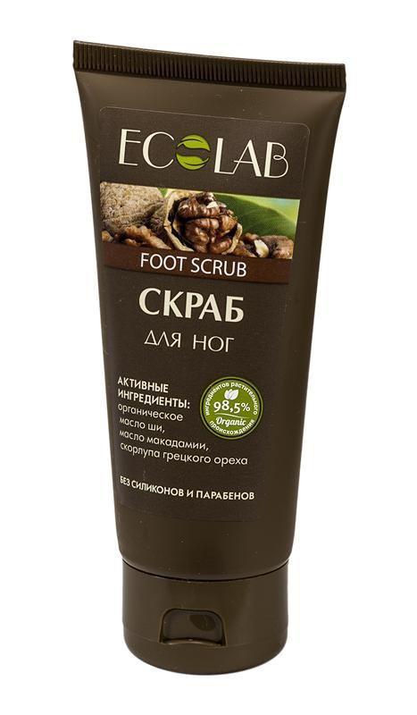 Ecolab Скраб для ногДля тела<br>Скраб для ног Ecolab содержит более 97% ингредиентов растительного происхождения. Не содержит парабенов и силиконов.Органическое масло макадамии<br>Способствует хорошему увлажнению и смягчению кожи, устраняет сухость и шелушение, освежает и тонизирует кожу.<br>Масло ши (Карите) хранит в себе всю природную силу и абсолютно безопасен даже для детей и людей с очень чувствительной кожей.<br><br>Вес г: 120<br>Бренд: Ecolab<br>Объем мл: 100<br>Страна производитель: Россия