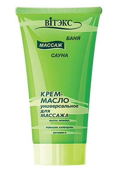 Витэкс Крем-масло для массажа универсальноеВитэкс<br>КРЕМ-МАСЛО универсальное для массажа<br>Основано на природных маслах жожоба, календулы, ромашки, которые стимулируют периферическую микроциркуляцию. Содержит масло семян подсолнуха, зародышей пшеницы, которые повышают барьерную функцию кожи, а также восстанавливают ее липидную мантию.<br>После проведения курса массажа кожа становится гладкой и эластичной.<br><br>Вес г: 120<br>Бренд : Витэкс<br>Объем мл: 100<br>Страна производитель : Белоруссия