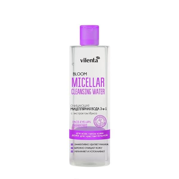 VILENTA BLOOM Вода мицелярная с экстрактом ИрисаVilenta<br>Средство 3в1 для снятия даже стойкого макияжа на основе мицеллярной технологии, обогащенное увлажняющими и успокаивающими активными компонентами, эффективно удаляет макияж с лица, глаз и губ, бережно очищает кожу от загрязнений, не нарушая ее естественный защитный барьер.<br><br>Вес г: 230<br>Бренд: Vilenta<br>Объем мл: 200<br>Тип кожи: чувствительная, все типы кожи<br>Область применения: лицо<br>Вид средства для демакияжа: мицеллярная вода<br>Область применения: лицо<br>Страна производитель: Китай