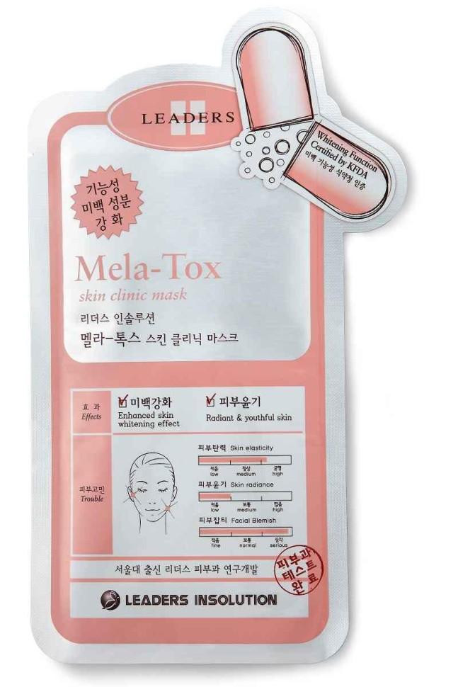 KeraSys Маска Улучшающая тон лица для всех типов кожиKeraSys<br>Leaders Skin Clinic Mask / Mela-tox<br>Маска для лица Лидерс<br>УЛУЧШАЮЩАЯ ЦВЕТ ЛИЦА<br>Высокоэффективные ингредиенты ниацинамид витамин В3, бисаболол, SymWhite377 из хвои сосны снижают образование меланина в клетках, тем самым помогают справиться с гиперпигментацией, осветляют пятна, улучшают цвета лица в целом. После применения существенно улучшается внешний вид кожи. Кожа становится более ровной, светлой, эластичной и мягкой. Возвращаются тонус и сияние.<br>Эффект:  возвращение тонуса;  сияние кожи;  улучщение цвета лица и отбеливание.<br>Активный компонент: ниацинамид витамин В3.<br>Показания к применению: темный, тусклый цвет лица, сухость, пигментные пятна.<br>НЕ СОДЕРЖИТ: искусственных красителей и отдушек, парабены, минеральные масла и другие опасные ингредиенты.<br>Протестирована дерматологами.<br>Для всех типов кожи<br><br>Вес г: 40<br>Бренд: KeraSys<br>Объем мл: 25<br>Тип кожи: все типы кожи<br>Консистенция маски: тканевая<br>Часть лица: лицо<br>По времени суток: дневной уход<br>Назначение маски: отбеливающая<br>Страна производитель: Корея