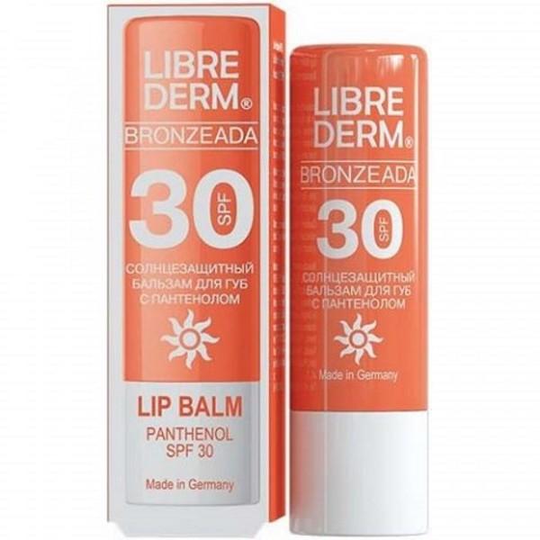 LIBREDERM Bronzeada Бальзам для губ солнцезащитный SPF30 с пантеноломLibrederm<br>Основные эффекты: увлажняет и смягчает губы, служит надежной защитой от обветривания. Содержит солнцезащитный фактор SPF 30.Отличительные особенности:обладает плотной консистенцией и легко распределяется по поверхности губ;оказывает увлажняющее действие и наполняет кожу витаминами;придает мягкость и гладкость;содержит пантенол, который способствует ускоренному восстановлению кожи губ после обветривания и шелушения, устранению раздражения;защищает от пересыхания и воздействия солнечных лучей (солнцезащитный фактор SPF 15);помада не образует липкого слоя на губах.<br><br>Вес г: 5<br>Бренд: Librederm<br>Форма блеска: тюбик<br>Вид блеска: глянцевый<br>Страна производитель: Россия