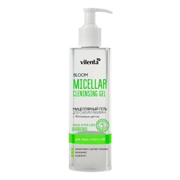 VILENTA BLOOM Гель мицелярный для умывания лица с Яблоневым цветомVilenta<br>Мицеллярный гель для губ и чувствительных глаз обеспечивает эффективное снятие макияжа без раздражения. Его освежающая гелевая текстура успокоит и увлажнит нежную кожу вокруг глаз. Эффективно удаляет макияж и очищает кожу. Идеально подходит для очищения кожи после косметического пилинга или чистки.<br><br>Вес г: 230<br>Бренд: Vilenta<br>Объем мл: 200<br>Тип кожи: чувствительная, все типы кожи<br>Область применения: лицо, глаза, губы<br>Вид средства для демакияжа: гель<br>Область применения: лицо, глаза, губы<br>Страна производитель: Россия