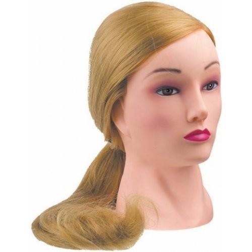 Dewal Голова учебная блондинка, натуральные волосы 50-60 смDewal<br>Характеристика головы учебной DEWAL «блондинка», натуральные волосы 50-60 см:<br>- Голова-манекен без штатива торговой марки DEWAL;<br>- Изготовлена из высококачественной пластмассы и натуральных волос светлого  цвета длиной 50-60см;<br>- Используется в учебных целях.<br>Манекены головы – это один из самых важных аксессуаров каждого парикмахера, который  служит для тренировки и обучения начинающего специалиста делать стрижки, укладки, причёски, заплетать косы, окрашивать волосы.<br>Особенности головы-манекена с натуральными   волосами длиной 50-60 см:<br>- Голова-манекен высокого качества от производителя с многолетней историей;<br>- Возможность оттачивать навыки стрижки волос ножницами, не боясь испортить инструменты;<br>- Возможность создания как горячей укладки с помощью фена, плойки и других инструментов, так и холодной;<br>- Возможность тренироваться в создании различного рода причёсок: вечерних, свадебных, повседневных, с использованием шпилек, заколок и других аксессуаров;<br>- Возможность окрашивать, тонировать,колорировать волосы , делать химические завивки.<br>Правила эксплуатации и уход за головой-манекеном с натуральными  волосами: при использовании голов-манекенов с натуральными  волосами требуются те же правила, что и с натуральными человеческими  волосами. Их можно мыть шампунем, наносить маски и бальзамы, аккуратно расчесывать. Степень теплового воздействия (сушка феном, окрашивание, хим. завивка, завивка с помощью плоек, утюжков) на натуральные волосы волосы  имеет ограничение. В противном случае их можно просто пережечь, что ведет к их выпадению. При бережной и правильной эксплуатации Ваш манекен прослужит Вам достаточно долго.<br>Манекен головы – идеальный выбор как для начинающего, так и для опытного парикмахера. С помощью этого инструмента  вы сможете повысить свои навыки в работе с волосами: в создании укладок и вечерних причёсок, стрижки волос, а также с их окрашивания. Учебна