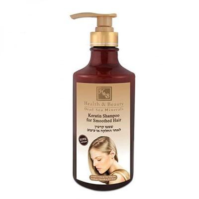 Health&amp;Beauty Шампунь кератиновый для волос 780 млHealth&amp;Beauty<br>Показания: Шампунь на основе кератина и масел аргании и жожоба успокаивает раздраженную кожу, укрепляет корни, снимает зуд и раздражение, предупреждает обезвоживание кожи головы и появление перхоти, делает волосы блестящими и мягкими на ощупь, восстанавливает структуру волос, разрушенную в результате воздействия окрашивающих средств и химической завивки.Действие: Экстракт Алоэ Вера, обогащенный огромным количеством аминокислот и витаминов, помогает восстановить и увлажнить кожу головы и корни волос. Кератин обволакивает волос, выпрямляет и делает волосы более плотными и мягкими. Натуральное масло аргании, входящее в состав шампуня, эффективно восстанавливает внешний вид волос, делает волосы более гладкими, помогает расчесать спутанные волосы. Содержащийся в шампуне экстракт ромашки предупреждает выпадение, укрепляет луковицы, поддерживает чистоту и свежесть волос.Способ применения: Вспенить, нанести на волосы, помассировать и смыть.Активные ингредиенты: Кератин, масло аргании, экстракт ромашки, экстракт алоэ вера, масло жожоба, витамин<br><br>Вес г: 830<br>Бренд: Health &amp; Beauty<br>Объем мл: 780<br>Тип волос: сухие, поврежденные, окрашенные, после хим. завивки, тонкие и ослабленные, длинные и секущиеся<br>Действие: увлажнение, укрепление, восстановление, блеск и эластичность, разглаживание<br>Тип средства для волос: шампунь<br>Страна производитель: Израиль