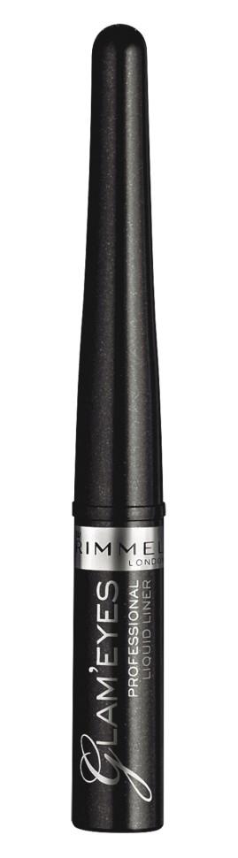 Rimmel Жидкая подводка для глаз Glam`eyes Professional Liquid LinerRimmel<br>Идеальная линия, насыщенный цвет и стойкий результат. Удобный аппликатор позволяет одним движением нанести тонкую ровную линию вдоль линии роста ресниц.<br>Состав:<br>вода, пропилен гликоль, ПВП, ПЕГ-8, бегениловый спирт, глицерила стеарат, феноксилэтанол, пальмитиловая кислота, ксантановая смола, спирты С12-16, сорбитана сесквиолеат, полисорбат 20, тринатрий фосфат, лецитин, метилпарабен, бутилпарабен, этилпарабен, изобутилпарабен, пропилпарабен, тальк, пигменты<br><br>Вес г: 40<br>Бренд : Rimmel<br>Объем мл: 4<br>Тип подводки : жидкая с кисточкой<br>Страна производитель : Великобритания