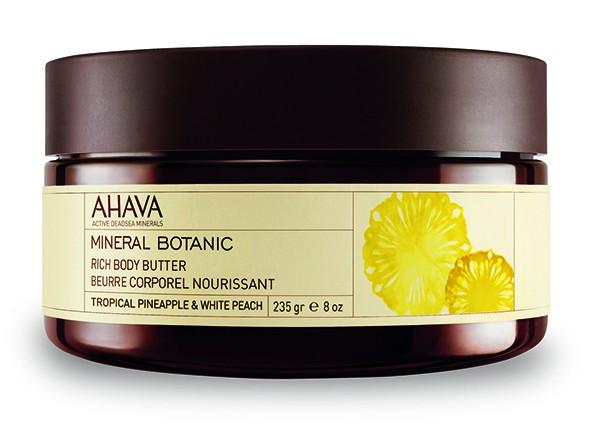 Ahava Mineral Botanic Насыщенное масло для тела тропический ананас и белый персик 235 грAhava<br>Мягкое и ультра питательное крем-масло для тела обеспечивает интенсивное увлажнение в течение всего дня. Масло персика, масло Ши смягчают и питают вашу кожу. Содержит комплекс Osmoter Ahava - сбалансированный концентрат минералов Мертвого моря для восстановления гидратации кожи. Питательное крем-масло для тела используется для сухой кожи в качестве увлажнения.Текстура питательнее, по сравнению с другими кремами и лосьонами, так как они имеют меньше воды в формуле.Крем-масло для дела содержат большое количество питательных ингредиентов, которые легко впитываются в кожу и сохраняют ее увлажненной в течении длительного времени.Крем-масло для тела образует защитный слой на поверхности кожи, уменьшая влияние солнца и экологических агрессивных факторов, защищая от сухого и холодного климата.Многие потребители считают, что их кожа стала гораздо мягче и менее склонна к сухости , когда они используют крем-масло для тела.Являясь единственной косметической компанией, расположенной на берегу Мертвого моря, цель и задача AHAVA состоит в том, чтобы предоставить достоинства Мертвого моря путем использования своих самых необычных ингредиентов и создания инновационных и эффективных продуктов для потребителей во всем мире.Способ применения:<br>Нанести необходимое количество на очищенную кожу массирующими движениями до полного впитывания<br>Особенности состава:<br>*Вся продукция не содержит парабены*Вся очищающие средства не содержат SLS / SLES (лаурет сульфат натрия). *Не содержит продуктов нефтепереработки, агрессивных синтетических ингредиентов и ГМО*Вся продукция гипоаллергена и опробована на чувствительной кожи.*Не тестируется на животных*Вся упаковка подлежит вторичной переработке*Вся продукция содержит формулу Osmoter™Состав:<br>Aqua (Mineral Spring Water), Vegetable Oil, Butyrospermum Parkii (Shea) Butter, Cyclomethicone, Ethylhexyl Palmitate, Aloe Barbadensis Leaf Juice, Stearyl A