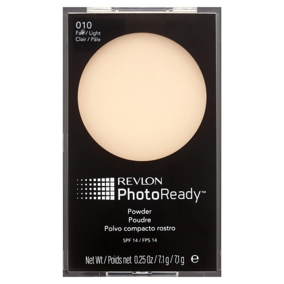 Revlon Пудра для лица Photoready Powder (10 Light)Revlon<br>Пудра PhotoReady™ - финальный штрих в макияже. Легендарный продукт, выбор российских женщин! Разработана с использованием инновационных светоотражающих пигментов. Придает коже идеальный вид, подобный фотографии из глянцевого журнала - эффект Photoshop (фотошоп). Фотохроматические пигменты, отражающие, преломляющие и рассеивающие свет дают безупречный вид вашей коже при любом освещении. Идеальный вид кожи даже при резком невыгодном освещении и через объективы высокого разрешения. Ультра легкая микронизированная текстура пудры уменьшает блеск кожи и выравнивает тон. Плотное, но при этом незаметное покрытие. Солнцезащитный фактор SPF14.Способ применения:<br>Наносите на чистую кожу или поверх макияжа кисточкой, включенной в комплект.<br>Состав:<br>TALC, MICA, BISMUTH OXYCHLORIDE, DIMETHICONE, ZINC STEARATE, SILICA, NYLON-12, POLYMETHYL METHACRYLATE, POLYETHYLENE, OCTYLDODECYL NEOPENTANOATE, PHENOXYETHANOL, LECITHIN, LAUROYL LYSINE, DIMETHICONOL, SORBIC ACID, TRIETHOXYCAPRYLYLSILANE, PENTAERYTHRITYL TETRAETHYLHEXANOATE, TOCOPHERYL ACETATE, HYDROLYZED RICE PROTEIN, MACROCYSTIS PYRIFERA (KELP) EXTRACT, NEREOCYSTIS LEUTKEANA (BROWN SEAWEED) EXIRACT, LANIINARIA JAPONICA EXIRACT, PRUNUS AMYGDALUS DULCIS (SWEET ALMOND) SEED EXTRACT, SACCHAROMYCES/POTASSIUM FERMENT, SACCHAROMYCES/MAGNESIUM FERMENT, TITANIUM DIOXIDE (CI 77891), RED IRON OXIDE (CL 77491), YELLOW IRON OXIDE (CI 77492), BLACK IRON OXIDE (CI 77499)<br><br>Вес г: 116<br>Бренд : Revlon<br>Объем мл: 78<br>Эффект покрытия : выравнивание<br>Тип пудры : компактная<br>В комплекте : пуховка<br>Фактор SPF : 14<br>Страна производитель : СОЕДИНЕННЫЕ ШТАТЫ АМЕРИКИ