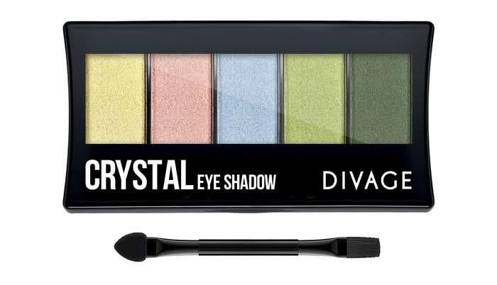 Divage Палетка Теней для век Palettes Eye Shadow CrystalDivage<br>Палетки для теней являются одним из самых универсальных инструментов для создания макияжа. Понимая это, DIVAGE приготовил для тебя новую коллекцию палеток для теней. В коллекцию вошли 4 палетки - NATURAL, BASICS, VIOLET и CRYSTAL.   Каждая палетка включает 5 оттенков, отлично сочетающихся между собой и удобную двухстороннюю кисть-аппликатор. Оттенки подобраны таким образом, чтобы каждая девушка могла найти палетку, идеально подходящую именно для нее. Имея в косметичке такую палетку, ты можешь экспериментировать с образами каждый день!<br>Мнение эксперта:<br>Используя аппликатор, нанеси самый светлый оттенок теней на всё подвижное веко и немного растушуй под бровь и на нижнее веко. Средний оттенок теней нанеси на складку века, хорошо растушевав его кистью, также нанеси его на внешнюю часть нижнего века. Самым тёмным тоном подчеркни ресничный контур и внешний уголок глаза.<br>Состав:<br>Состав: Talc, Mica, Dimethicone, Paraffinum Liquidum, Nylon-12, Isopropyl Myristate, Magnesium stearate, Squalane, Kaolin, Petrolatum, Methylparaben, Propylparaben, BHA.  Может содержать: CI 77491, CI 77492, CI 77499, CI 77891, CI 42090, CI16035, CI19140, CI 77742<br><br>Вес г: 92<br>Бренд : Divage<br>Объем мл: 7<br>В комплекте : кисть, аппликатор<br>Способ нанесения : сухой, влажный<br>Эффект на веках : матовый, перламутровый, сатиновый<br>Тип теней : компактные, палитра теней<br>Страна производитель : Китай