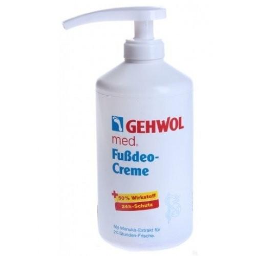 Gehwol Крем-дезодорант 500мл.Gehwol<br>Крем-дезодорант для ног Gehwol содержит в качестве основы масло жожоба и алое вера и, комбинацию масла чайного дерева (мануки) и активизированного оксида цинка для устранения сильного запаха ног на длительное врем. Масло чайного дерева с горьковатым запахом оказывает также смягчающее действие и обладает высокой активностью против бактерий и грибков.  Крем-дезодорант для ног Gehwol особенно подходит для гигиены ног. Оксид цинка является ингредиентом для ухода за чувствительной кожей ног, и замечательным по своей надежности средством противомикробного действия и важным фактором для защиты кожи. Алоэ вера обладает бактериостатическим и противовоспалительным действием, регенерируя и регулируя содержание влаги. Натуральное масло жажоба содержит ценные ненасыщенные жирные кислоты, быстро впитывается кожей и поддерживает важнейшие функции кожи. Нежно смягчающий крем при регулярном его применении позаботится о удалении неприятных запахов, их защите против грибковых заболеваний и эластичности кожи.<br><br>Вес г: 550<br>Бренд: Gehwol<br>Объем мл: 500