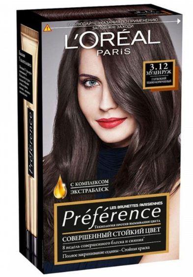 LOreal Краска для волос Preference №3.12 Мулен РужУход за волосами<br>Preference – эталон цвета высокой стойкости. В состав Преферанс входят более объемные красящие вещества, которые дольше удерживаются в структуре волос, обеспечивая невероятный цвет и блеск в течение 6 недель. Краска идеально закрашивает седые волосы.<br>Краска для волос Preference является результатом совместной экспертизы лабораторий Л'Ореаль Париж и известного профессионального колориста-креатора Кристофа Робина.<br>Преферанс предлагает потрясающую гамму изысканных цветов, дополняя ее коллекциями ультрамодных оттенков. <br>Результат: цвет волос яркий, сияющий от корней до кончиков. Он не тускнеет даже после длительного использования шампуня и сохраняет блеск в течение 6 недель.<br>*Среди красок Л'Ореаль Париж<br>В состав Preference входят запатентованные красящие вещества высокой устойчивости Благодаря своему объему, большему, чем у классических красящих веществ, они дольше удерживаются в структуре волос, обеспечивая глубокий, насыщенный, сияющий цвет в течение 6 недель. Особый бальзам Усилитель цвета, рассчитанный на 6 применений для обновления цвета и продления блеска Волос, подарит им невероятную мягкость.<br><br>Вес г: 200<br>Бренд : LOreal<br>Страна производитель : Франция<br>Вид краски для волос : стойкая краска<br>Оттенок краски для волос : Тон 3.12