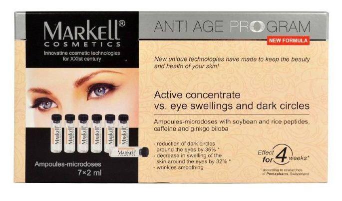 Markell Активный концентрат от отеков и темных кругов под глазами 7шт*2млMarkell<br>Активный концентрат Markell от отеков и темных кругов под глазами:уменьшение темных кругов вокруг глаз на 35%<br>уменьшение припухлости кожи вокруг глаз на 32%<br>разглаживание морщин<br>эффект за 4 недели<br>Инновационный активный концентрат обеспечивает коррекцию контура глаз, способствует уменьшению темных кругов и мешков под глазами, а также борется со старением кожи.<br>Средство устраняет отечность, уменьшает воздействие, которое оказывают на кожу свободные радикалы.Активные компоненты:Активный комплекс REGU®-AGE, состоящий из специально очищенных пептидов сои и риса оказывает положительное воздействие на микроциркуляцию крови даже при незначительных концентрациях, что приводит к улучшению снабжения тканей кислородом.<br>Уменьшая вредное воздействие УФ-лучей, комплекс способствует укреплению коллагеновых и эластиновых волокон сокращая видимые признаки старения кожи вокруг глаз.<br>Кофеин оказывает дренажное и укрепляющее воздействие, улучшает лимфоток, тем самым помогает убрать мешки в области глаз и общую отечность лица.<br>Активизируя кровоснабжение и водообмен, кофеин улучшает цвет и внешний вид кожи.<br>Экстракт листьев гинкго билоба повышает эластичность стенок кровеносных сосудов, улучшает капиллярное кровообращение и уменьшает отечность, помогает коже сохранять молодой и привлекательный вид.Применение:<br>Небольшое количество концентрата нанесите на кожу вокруг глаз, деликатно вбивая подушечками пальцев до полного впитывания.<br>Одна ампула рассчитана на однодневное применение. Используйте активный концентрат дважды в день утром и вечером, в течение месяца.<br><br>Вес г: 30<br>Бренд : Markell<br>Объем мл: 14<br>Консистенция маски : жидкая/пленочная<br>Часть лица : глаза<br>Вид средства для век : сыворотка<br>По времени суток : дневной уход<br>Страна производитель : Белоруссия
