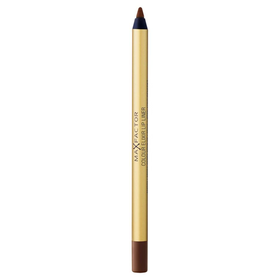 Max Factor карандаш для губ Colour Elixir Lip Liner (16 brown n bold)Max Factor<br>Секрет эффектного макияжа губ - правильный карандаш. Он мягко касается губ и рисует точную линию, подчеркивая контур и одновременно ухаживая за губами. Карандаш для губ Colour Elixir подчеркивает твои губы, придавая им форму. - Роскошный цвет и увлажнение для мягких и гладких губ. - Оттенки подходят к палитре помады Colour Elixir. - Легко наносится.<br>Способ применения:1. Выбирай карандаш на один тон темнее твоей помады 2. Наточи карандаш и смягчи кончик салфеткой 3. Подведи губы в уголках, дугу Купидона и середину нижней губы, затем соедини линии 4. Нанеси несколько легких штрихов на губы, чтобы помада держалась дольше.<br>Состав:<br>Циклопентасилоксан, парафин, слюда, полибутен, С11-12 изопарафин, гидрированное хлопковое масло, озокерит, микрокристаллированная сера, гидрогенизированное пальмовое масло, токоферол, пропил-парабен, Cl 15850, Cl 19140, Cl 42090<br><br>Вес г: 36<br>Бренд : Max Factor<br>Тип карандаша : деревянный<br>Объем мл: 1<br>Страна производитель : Германия