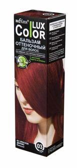 Белита Бальзам оттеночный для волос Lux Color (03 красное дерево)Белита<br>Назначение: Средства для окраски волос<br>Линия: Color LuXСостав: вода, цетеариловый спирт, этоксидигликоль, цетримониум хлорид, пропиленгликоль, масло карите ши, масло оливы, диметикон, гидрооксицеллюлоза, лимонная кислота, парфюмерная композиция Hydroxyisohexyl 3-Cyclohexene Carboxaldehyde, метилпарабен, пропилпарабен, HC Yellow 2, HC Red 3, 4-Hydroxypropylamino-3-nitrophenol, N,N-Bis2-Hydroxyethyl-2-Nitro-p-Phenylenediamine.<br><br>Вес г: 150<br>Бренд : Белита<br>Объем мл: 100<br>Страна производитель : Белоруссия<br>Вид краски для волос : оттеночный бальзам