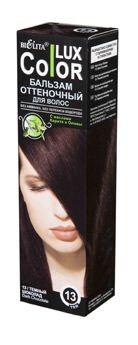 Белита Бальзам оттеночный для волос Lux Color (13 темный шоколад)Белита<br>Назначение: Средства для окраски волос<br>Линия: Color LuXСостав: вода, цетеариловый спирт, этоксидигликоль, цетримониум хлорид, пропиленгликоль, масло карите ши, масло оливы, диметикон, гидрооксицеллюлоза, лимонная кислота, парфюмерная композиция Hydroxyisohexyl 3-Cyclohexene Carboxaldehyde, метилпарабен, пропилпарабен, HC Yellow 2, HC Red 3, 4-Hydroxypropylamino-3-nitrophenol, N,N-Bis2-Hydroxyethyl-2-Nitro-p-Phenylenediamine.<br><br>Вес г: 150<br>Бренд: Белита<br>Объем мл: 100<br>Страна производитель: Белоруссия<br>Вид краски для волос: оттеночный бальзам