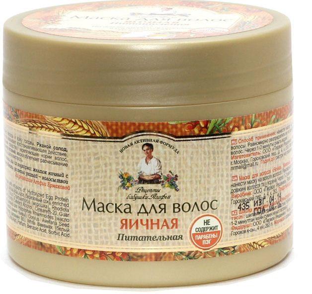 Рецепты Б.Агафьи маска для волос Яичная питательная для всех типов волос 300 млРецепты Бабушки Агафьи<br>На березовом соке и маслах холодного отжима<br>Березовый сок – настоящий кладезь микроэлементов, витаминов, полисахаров, белков, кислот и ароматических и дубильных веществ. Березовым   соком очень полезно мыть  голову, он очень стимулирует рост  волос , укрепляет их корни, делает  волосы  густыми и пушистыми, снимает излишнюю жирность.<br>Масла холодного отжима при производстве не подвергаются воздействию высоких температур и не теряют своих полезных свойств. Благодаря содержанию Масел холодного отжима наши Маски облегчают расчесывание и придают волосам естественный блеск и шелковистость. <br>В нашем ассортименте на Березовом соке и Маслах холодного отжима изготавливается 3 маски для волос. <br>Яичные протеины интенсивно питают волосы и кожу головы. <br>Ржаной солод – незаменимый источник микроэлементов, оказывает восстанавливающее действие.<br><br>Вес г: 350<br>Бренд : Рецепты Б.Агафьи<br>Объем мл: 300<br>Тип волос : тонкие и ослабленные<br>Действие : увлажнение, питание, укрепление, восстановление, от выпадения волос<br>Тип средства для волос : маска<br>Страна производитель : Россия