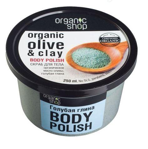 Organic shop Скраб для тела Голубая глинаOrganic shop<br>Настоящий SPA подарит вашей коже скраб для тела Organic shop - удивительное сочетание органического масла оливы и голубой глины. Нежный Body Polish мягко отшелушивает кожу, придавая ей упругость, гладкость и поддерживая естественный уровень увлажненности. Использование: Нанести на влажную кожу легкими массирующиими движениями, смыть водой.Ингредиенты INCI: Sodium Chloride, Organic Olea Europea Fruit Oil рганическое оливковое масло, Iris Versicolor Extract экстракт ириса, Blue Clay голубая глина, Aqua, Kaolin белая глина, Cetearyl Alcohol, Cocamidopropyl Betaine из кокосового масла, Glycerin, Parfum.<br><br>Вес г: 300<br>Бренд : Organic shop<br>Объем мл: 250<br>Страна производитель : Россия