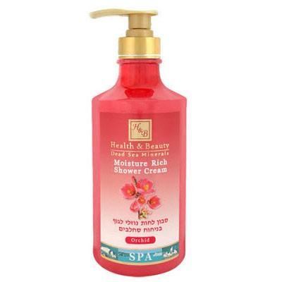Health&amp;Beauty Гель-крем для душа увлажняющий ОрхидеяHealth&amp;Beauty<br>Показания: Нежный кремообразный гель обеспечивает очищение кожи, освежает, мягко ухаживает за кожей, предупреждая появление раздражения и обезвоживания, нейтрализует воздействие жесткой воды, поддерживает мягкость, упругость и бархатистость кожи, придает коже приятный цветочный аромат тропических растений.Действие: Увлажняющий крем-гель содержит облепиховое масло, богатое витаминами и жирными кислотами. Минералы Мертвого моря способствуют повышению эластичности кожи, усиливают очищающий эффект кремового мыла, обеспечивая выведение шлаков и детоксикацию, устраняют воспалительные процессы, снимают отеки, заживляют микроповреждения. Экстракт алоэ является антисептиком и увлажнителем, стимулирует обменные процессы.Масла ши и жожоба известны свой высокой проникающей способностью, обеспечивают глубокое увлажнение и питание. Экстракт меда тонизирует и обладает питательным воздействием. Масло виноградных косточек образует пленку на поверхности эпидермиса, препятствует испарению влаги из верхних слоев кожи.Способ применения: Нанести на кожу массирующими движениями, распределить по поверхности кожи, смешивая с водой. Через минуту смыть.Активные ингредиенты: Масло Ши, масло оливок, экстракт меда, масло облепихи, масло виноградных косточек, масло жожоба, экстракт алоэ, миндальное масло, минералы Мертвого моря.<br><br>Вес г: 830<br>Бренд: Health &amp; Beauty<br>Объем мл: 780<br>Страна производитель: Израиль
