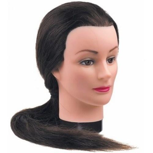 Dewal Голова учебная шатенка, натуральные волосы 50-60 смDewal<br>Характеристика головы учебной DEWAL «шатенка», натуральные волосы 50-60 см:<br>- Голова-манекен без штатива торговой марки DEWAL;<br>- Изготовлена из высококачественной пластмассы и натуральных волос темного цвета длиной 50-60 см;<br>- Используется в учебных целях.<br>Манекены головы – это один из самых важных инструментов каждого парикмахера, который  служит для тренировки и обучения начинающего специалиста делать стрижки, укладки, причёски, заплетать косы, окрашивать волосы.<br>Особенности головы-манекена с натуральными   волосами длиной 50-60 см:<br>- Голова-манекен высокого качества от производителя с многолетней историей;<br>- Возможность оттачивать навыки стрижки волос ножницами, не боясь испортить инструменты;<br>- Возможность создания как горячей укладки с помощью фена, плойки и других инструментов, так и холодной;<br>- Возможность тренироваться в создании различного рода причёсок: вечерних, свадебных, повседневных, с использованием шпилек, заколок и других аксессуаров;<br>- Возможность окрашивать, тонировать,колорировать волосы , делать химические завивки.<br>Правила эксплуатации и уход за головой-манекеном с натуральными волосами: при использовании голов-манекенов с натуральными  волосами требуются те же правила, что и с натуральными человеческими  волосами. Их можно мыть шампунем, наносить маски и бальзамы, аккуратно расчесывать. Степень теплового воздействия (сушка феном, окрашивание, хим. завивка, завивка с помощью плоек, утюжков) на натуральные волосы волосы  имеет ограничение. В противном случае их можно просто пережечь, что ведет к их выпадению. При бережной и правильной эксплуатации Ваш манекен прослужит Вам достаточно долго.<br>Манекен головы – идеальный выбор как для начинающего, так и для опытного парикмахера. С помощью этого инструмента  вы сможете повысить свои навыки в работе с волосами: в создании укладок и вечерних причёсок, стрижки волос, а также с их окрашивания. Учебная гол