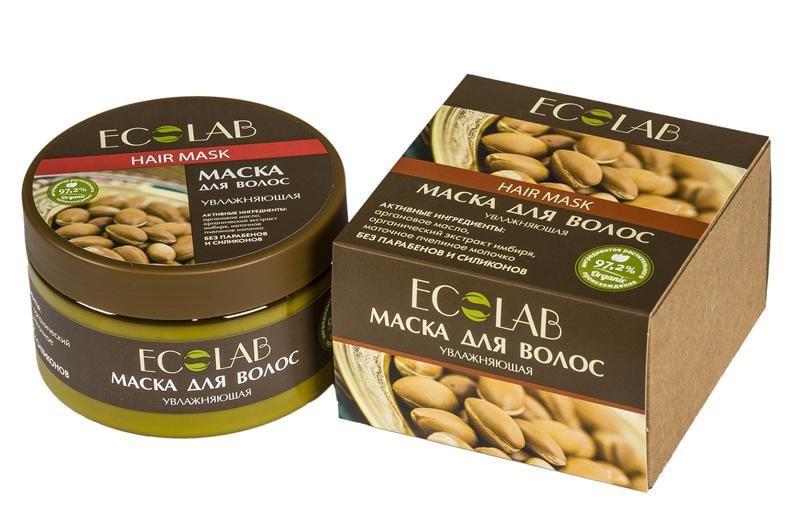 Ecolab Маска для волос УвлажняющаяДля волос<br>Маски для волос Эколаб содержат более 97% ингредиентов растительного происхождения.<br>масло макадамии;<br>масло бразильского ореха;<br>экстракт иланг-иланга;<br>масло бразильского ореха;Аргановое маслоУникальный состав масла арганы на 45 % состоит олиго-линолиевых кислот, что делает этот дар природы особенно эффективным средством в антивозрастном уходе.<br>Органический экстракт имбиря за его способность восстанавливать жировой баланс кожи. Тонизирует, улучшает тругор кожи, оказывает антисептическое и антиоксидантное действие.<br><br>Вес г: 300<br>Бренд : Ecolab<br>Объем мл: 250<br>Тип волос : нормальные, смешанные, поврежденные, тонкие и ослабленные<br>Действие : увлажнение, питание, легкое расчесывание, блеск и эластичность<br>Тип средства для волос : маска<br>Страна производитель : Россия
