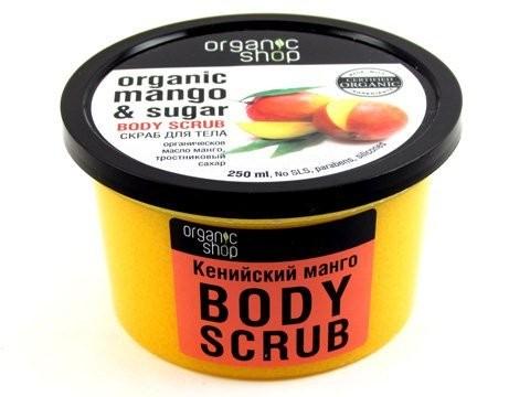 Organic shop Скраб для тела Кенийский мангоOrganic shop<br>Скраб на основе органических масел спелого манго дарит ощущение экзотики. Аппетитный аромат улучшает настроение, а натуральный тростниковый сахар отшелушивает кожу, делает ее соблазнительно-шелковистой. Благодаря содержанию природного афродизиака — масла нероли, раскрепощается чувственность. После применения скраба очищается тело, кожа обретает упругость, омолаживаясь изнутри через поры.Применение Использовать скраб для тела Organic Shop каждый день, принимая душ или ванну. Втирать во влажную кожу несколько минут. После процедуры тело смыть водой.Состав Sucrose тростниковый сахар, Glycerin, Camellia Sinensis Leaf Extract органический экстракт зеленого чая, Chamomilla Recutita Flower extract органический экстракт ромашки, Mangifera Indica Seed Oil органический экстракт манго, Cetearyl Alcohol, Sodium Cocoyl Isethionate, citruc Aurantium Dulcis Flower oil масло нероли, Hippophae Rhaimnoides Fruit Oil масло облепихи, Iron Oxides<br><br>Вес г: 300<br>Бренд : Organic shop<br>Объем мл: 250<br>Страна производитель : Россия