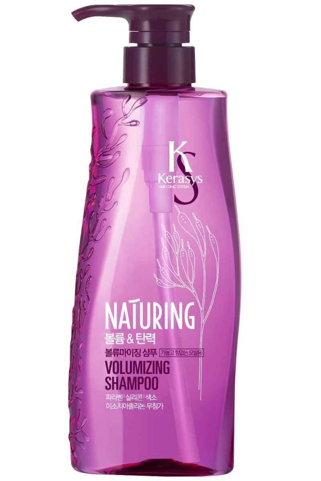 KeraSys Шампунь для волос Naturing объем и эластичность с морскими водорослямиKeraSys<br>Kerasys Naturing Volumizing Shampoo шампунь для волос Объем и эластичность с морскими водорослями<br>Основная идея создания линии средств для волос Kerasys Naturing -  и питание кожи головы. Здоровая кожа головы залог здоровья и красоты волос. Имея в составе максимум натуральных ингредиентов, наполненный природной силой морских минералов Kerasys Naturing улучшает состояние кожи головы, стимулирует рост волос. Волосы обретают жизненную силу и эластичность. Не содержит: Парабены, изотиазолиноны, красители.<br>В составе ингридиенты 100% растительного происхождения.<br>Содержит экстракты каулерпы гроздевидной и сине-зеленых водорослей. На 60% больше объема волос. Тип волос: для тонких и ослабленных волос.<br><br>Вес г: 550<br>Бренд : KeraSys<br>Объем мл: 500<br>Тип волос : тонкие и ослабленные, длинные и секущиеся<br>Действие : питание, для объема, блеск и эластичность, для роста волос<br>Тип средства для волос : шампунь<br>Страна производитель : Корея