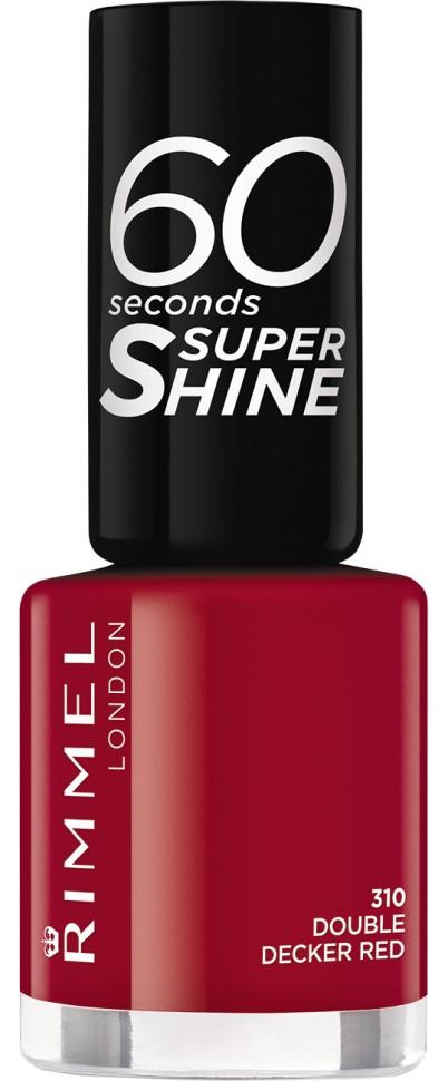 Rimmel Лак для ногтей 60 Seconds Super Shine (310 красный)Rimmel<br>Формула лака для ногтей 60 seconds Super Shine с аргановым и оливковым маслами для интенсивного ухода за ногтями. Технология 3-в-1: базовое покрытие, насыщенный цвет и верхнее покрытие - одним движением кисточки! Удобная широкая кисточка Xpress Brush™ для удобного нанесения лака. Одна маленькая бутылочка дает суперблеск и стойкий цвет до 10 дней! Высыхает за 60 секунд!<br>Состав:<br>BUTYL ACETATE, ETHYL ACETATE, NITROCELLULOSE, ACETYL TRIBUTYL CITRATE, ISOPROPYL ALCOHOL, TOSYLAMIDE/EPOXY RESIN, STYRENE/ACRYLATES COPOLYMER, ADIPIC ACID/ NEOPENTYL GLYCOL/ TRIMELLITIC ANHYDRIDE COPOLYMER, AQUA/WATER/EAU, DIACETONE ALCOHOL, GLYCIDYL NEODECANOATE, SYNTHETIC FLUORPHLOGOPITE, CORALLINA OFFICINALIS EXTRACT, ACRYLATES/ DIMETHICONE COPOLYMER, TRIMETHYLSILOXYSILICATE, n-BUTYL ALCOHOL, DIMETHICONE, TOCOPHERYL ACETATE, BENZOPHENONE-1, POLYETHYLENE, STEARALKONIUM HECTORITE, HYDROLYZED CONCHIOLIN PROTEIN, CARTHAMUS TINCTORIUS (SAFFLOWER) SEED OIL, MACROCYSTIS PYRIFERA (KELP) EXTRACT, TIN OXIDE<br><br>Вес г: 38<br>Бренд : Rimmel<br>Объем мл: 8<br>Вид лака : классичекий<br>Эффект на ногтях : глянец<br>Страна производитель : Испания