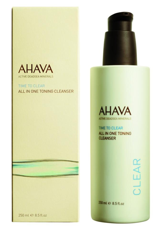 Ahava Time To Clear Тонизирующее очищающее средство «все в одном» 250 млAhava<br>Лёгкое водянистое очищающее молочко для лица и глаз. Сочетание формул сразу трех продуктов помогает эффективно удалять макияж, загрязнения и примеси; сужает поры и балансирует pH кожи; делает кожу чистой, тонизированной, мягкой и позволяет удерживать влагу. Являясь единственной косметической компанией, расположенной на берегу Мертвого моря, цель и задача AHAVA состоит в том, чтобы предоставить достоинства Мертвого моря путем использования своих самых необычных ингредиентов и создания инновационных и эффективных продуктов для потребителей во всем мире.Способ применения:<br>Протереть ватным диском лицо и глаза. Не смывать. Использовать ежедневно. <br>Особенности состава:<br>*Вся продукция не содержит парабены*Вся очищающие средства не содержат SLS / SLES (лаурет сульфат натрия). *Не содержит продуктов нефтепереработки, агрессивных синтетических ингредиентов и ГМО*Вся продукция гипоаллергена и опробована на чувствительной кожи.*Не тестируется на животных*Вся упаковка подлежит вторичной переработке*Вся продукция содержит формулу Osmoter™*Вся продукция не содержит парабены*Вся очищающие средства не содержат SLS / SLES (лаурет сульфат натрия). *Не содержит продуктов нефтепереработки, агрессивных синтетических ингредиентов и ГМО*Вся продукция гипоаллергена и опробована на чувствительной кожи.*Не тестируется на животных*Вся упаковка подлежит вторичной переработке*Вся продукция содержит формулу Osmoter™<br>Состав:<br>Aqua (Mineral Spring Water), Isohexadecane, Cyclomethicone, Propanediol (Corn derived Glycol), Hamamelis Virginiana (Witch Hazel) Water, Sodium Lauroyl Glutamate,Phenyl Trimethicone, Peg-40 Hydrogenated Castor Oil, Propylene Glycol, Trideceth-9, Phenoxyethanol, Ethylhexylglycerin, Acrylates\C10-30 Alkyl Acrylate Crosspolymer [Carbomer], Aminomethyl Propanediol, Glycerin, Allantoin, Parfum (Fragrance), Potassium Sorbate, Maris Aqua (Dead Sea Water), Dunaliella Salina Extract, Hydroge