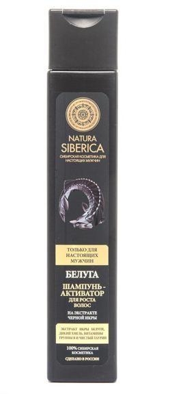 Натура Сиберика Шампунь-активатор для роста волос белугаУход за волосами<br>Экстракт икры белуги<br>Дикий хмель<br>Витамины группы В<br>Чистый таурин<br>Шампунь-активатор для роста волос Белуга — создан для настоящих мужчин – сильных, смелых и уверенных в себе!В его состав входит уникальный ценный ингредиент — экстракт икры белуги. Икра — богатейший источник омега-3 и жирных кислот, белков, витаминов, микроэлементов. Она стимулирует рост волос, укрепляет волосяные луковицы, питает и увлажняет волосы.Дикий хмель эффективно очищает кожу головы, усиливает кровообращение, улучшает структуру волос. Витамин В питает и укрепляет корни волос, делает их прочными и сильными. Чистый таурин, мощный энергетик, пробуждает волосяные луковицы, придает жизненную силу волосам и стимулирует рост новых.Шампунь-активатор для роста волос Белуга — мощнейший комплекс природных компонентов, разработанный с учетом особенностей мужских волос. Он интенсивно очищает кожу головы и волосы, сокращает выпадение, активизирует рост волос, возвращая им силу и здоровый внешний вид.0% PEG 0% SLS/SLES0% Парабенов<br><br>Вес г: 270<br>Бренд : Натура Сиберика<br>Объем мл: 250<br>Страна производитель : Россия