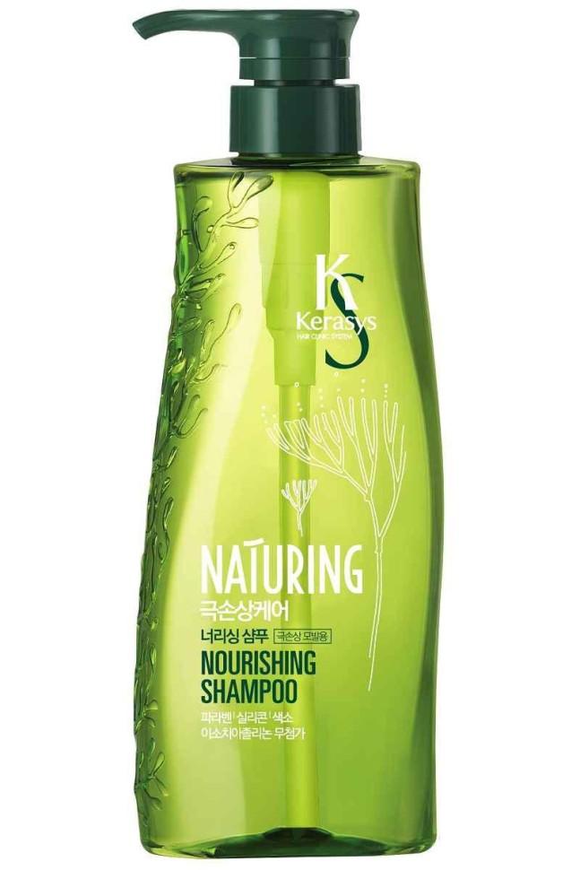 KeraSys Шампунь для волос Naturing питание с морскими водорослямиKeraSys<br>Kerasys Naturing Nourishing Shampoo шампунь для волос Питание с морскими водорослями, восстанавливает поврежденные волосы, питая и делая их более эластичными. Улучшает состояние ломких волос, стимулирует рост волос.<br><br>Вес г: 550<br>Бренд: KeraSys<br>Объем мл: 500<br>Тип волос: поврежденные, тонкие и ослабленные, длинные и секущиеся<br>Действие: питание, восстановление, блеск и эластичность, для роста волос<br>Тип средства для волос: шампунь<br>Страна производитель: Корея