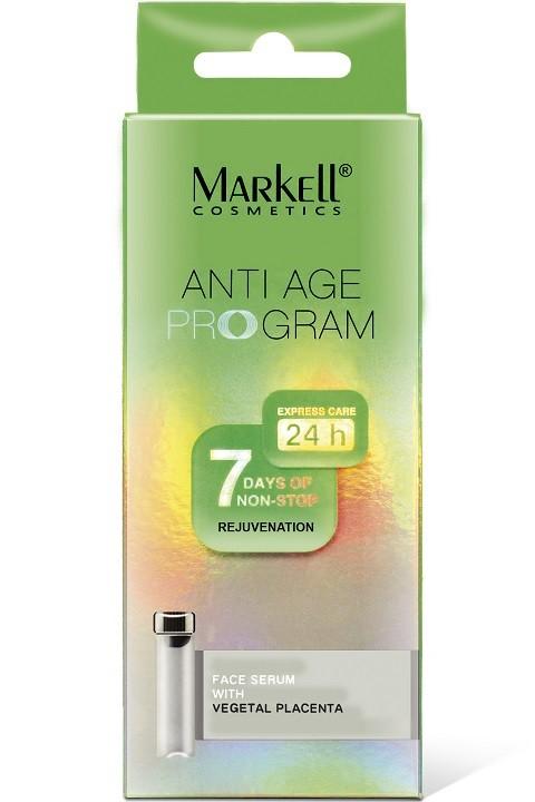 Markell Сыворотка для лица с растительной плацентой 7шт*2млMarkell<br>SOYENNA - растительный активный компонент, получаемый из ростков соевых бобов. Благодаря своему исключительному составу, SOYENNA обеспечивает кожу незаменимыми аминокислотами, которые используются во время синтеза протеинов, таких как коллаген, эластин и кератин, и микроэлементами, которые соединяются с водой на поверхности кожи и обеспечивают хороший уровень увлажнения в поверхностных слоях эпидермиса. Благодаря своим восстанавливающим и питающим способностям SOYENNA ускоряет метаболизм клеток; питает кожу, снабжая ее минералами, аминокислотами и пептидами. Применение: наносить 2 раза в день - утром и вечером - на чистую кожу лица легкими массажными движениями.<br><br>Вес г: 30<br>Бренд : Markell<br>Объем мл: 14<br>Тип кожи : все типы кожи<br>Консистенция : сыворотка/эмульсия<br>Тип крема : увлажняющий, питательный, восстанавливающий<br>Возраст : 30+, 35+, 40+, 45+<br>Эффект : эластичность<br>По времени суток : дневной уход, ночной уход<br>Страна производитель : Белоруссия
