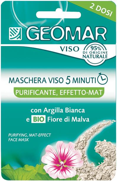 GEOMAR Маска для лица очищающая с матирующим эффектом со цветком МальвыМаски для лица<br>Очищающая маска для лица с матирующим эффектом GEOMAR – это специальный уход, который помогает очистить кожу от избытка кожного сала и очищает поры всего за 5 минут.<br>В ее формуле содержится белая глина, которая очищает и нормализует жировой баланс кожи, и органический цветок Мальвы, имеющий успокаивающий эффект. Идеально для жирной и комбинированной кожи.<br><br>Вес г: 20<br>Бренд : Geomar<br>Объем мл: 15<br>Тип кожи : все типы кожи<br>Консистенция маски : кремообразная<br>Часть лица : лицо<br>По времени суток : дневной уход<br>Назначение маски : очищающая, матирующая<br>Страна производитель : Италия