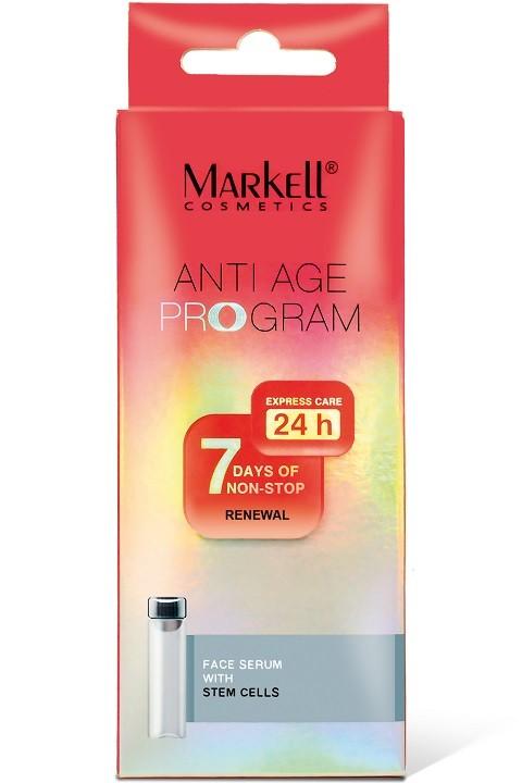 Markell Сыворотка для лица со стволовыми клетками 7шт*2млMarkell<br>Содержит комплекс на основе растительных клеток винограда, инкапсулированных в липосомы. Растительные стволовые клетки- это источник обновления и омоложения кожи. Они повышают упругость кожи, питают и делают ее более гладкой, уменьшают количество и глубину морщин, обеспечивают защиту от преждевременного старения. Применение: Наносить 2 раза в день - утром и вечером - на чистую кожу лица легкими массажными движениями.<br><br>Вес г: 30<br>Бренд : Markell<br>Объем мл: 14<br>Консистенция : сыворотка/эмульсия<br>Тип крема : антивозрастной, укрепляющий<br>Возраст : 35+, 40+, 45+, 50+<br>Эффект : выравнивание, сокращает морщины<br>По времени суток : дневной уход, ночной уход<br>Страна производитель : Белоруссия