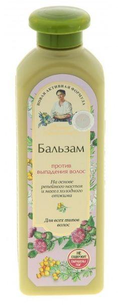 Рецепты Б.Агафьи бальзам для волос против выпадения волос 350 млРецепты Бабушки Агафьи<br>На 5 мыльных травах  <br>Репейный настой,  специально отобранные травы и активные компоненты бальзама укрепляют волосяные луковицы, предотвращая выпадение волос.<br><br>Вес г: 400<br>Бренд : Рецепты Б.Агафьи<br>Объем мл: 350<br>Тип волос : все типы волос<br>Действие : укрепление, против перхоти<br>Тип средства для волос : бальзам<br>Страна производитель : Россия