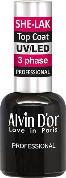 ALVIN DO*R ADN-37 Top Coat Топ покрытие для Ши-лакаAlvin D`or<br>Щадящая формула. SHE-LAK имеет маркировку «3 free», это означает, что в составе SHE-LAK отсутствуют вредные компоненты: толуол, дибутилфталат, формальдегид, а так же его смолы. Сохраняя лучшие свойства геля, делающие натуральный ноготь более прочным, при нанесении SHE-LAK не требуется предварительный запил ногтя, как при работе с гелем, достаточно просто обыкновенного маникюра. Это значит, что покрытие SHE-LAK не только положительно влияет на внутреннюю структуру ногтя, но не менее важно и то, что при его нанесении естественная поверхность не нарушается. Кроме того, SHE-LAK— гипоаллергенен.<br><br>Вес г: 20<br>Бренд: Alvin Do*r<br>Объем мл: 15<br>Страна производитель: Франция<br>Тип средства для ногтей: верхнее покрытие