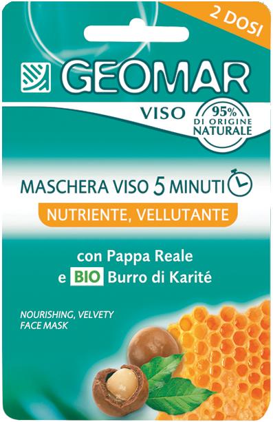 GEOMAR Маска для лица питательная с натуральным маслом КаритеМаски для лица<br>Питательная маска для лица GEOMAR это уход, который помогает питать и увлажнять вашу кожу, восстанавливая ее текстуру всего за 5 минут.<br>В ее формуле содержится масло карите, которое обладает смягчающим и увлажняющим свойствами, экстракт маточного молочка, питает и омолаживает кожу, а церамиды и молочные белки ухаживают и защищают ее. <br>Ее богатая бархатистая текстура приятна в использовании и идеально подходит для сухой, тусклой и обезвоженной кожи.<br>Кожа питается, увлажняется, становится более упругой и мягкой.<br><br>Вес г: 20<br>Бренд: Geomar<br>Объем мл: 15<br>Тип кожи: нормальная, комбинированная, сухая<br>Консистенция маски: кремообразная<br>Часть лица: лицо<br>По времени суток: дневной уход<br>Назначение маски: питательная<br>Страна производитель: Италия