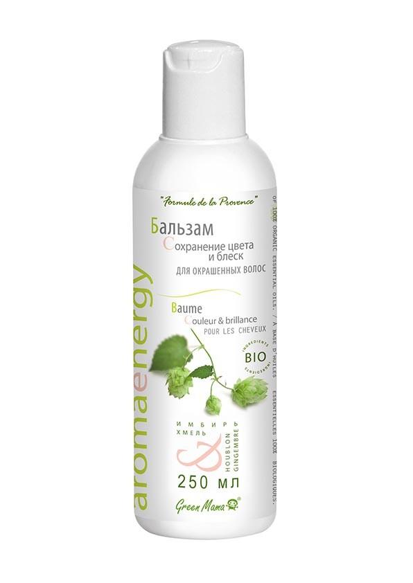 Green Mama Бальзам Сохранение цвета и блеск для окрашенных волос Имбирь и хмель BIOБренды<br>Ценная природная формула на основе хмеля и имбиря оказывает экстренную помощь повреждённым и ослабленным волосам: предотвращает их выпадение, питает, придаёт прядям гладкость и блеск. Реставрирующие качества бальзама усиливаются комплексом витаминов A, В1, В2, С и ценным маслом косточек персика.<br><br>Вес г: 270<br>Бренд : Green Mama<br>Объем мл: 250<br>Тип волос : поврежденные, окрашенные, тонкие и ослабленные<br>Действие : питание, укрепление, восстановление, сохранение цвета, блеск и эластичность<br>Тип средства для волос : бальзам<br>Страна производитель : Россия