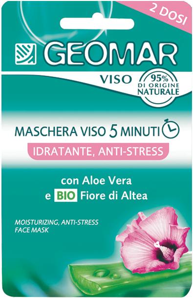 GEOMAR Маска для лица АНТИ-СТРЕСС со цветком АлтеиМаски для лица<br>Увлажняющая маска анти-стресс GEOMAR – это специальный уход, который увлажняет кожу и восстанавливает естественный водный баланс всего за 5 минут.<br>Содержит Алоэ Вера, известный своими увлажняющими и успокаивающими свойствами, натуральный цветок алтеи, который смягчает кожу, и морской увлажняющий комплекс, который помогает поддерживать правильный уровень увлажнения кожи.<br>Свежая гелевая текстура приятна в использовании, подходит для всех типов кожи, особенно для очень сухой и уставшей кожи.<br><br>Вес г: 20<br>Бренд: Geomar<br>Объем мл: 15<br>Тип кожи: нормальная, сухая, чувствительная<br>Консистенция маски: кремообразная<br>Часть лица: лицо<br>Назначение маски: увлажняющая<br>Страна производитель: Италия