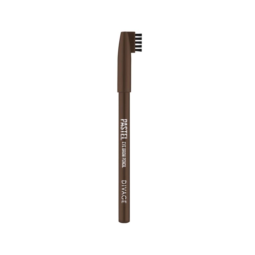Divage Карандаш для бровей Pastel (1106 темно-коричневый)Divage<br>Карандаш плотной текстуры идеально подходит для графичного моделирования формы бровей. Воздушный пудровый контур придаёт бровям совершенную форму и гармоничный объём. Обеспечивает эффект натуральных, ровных и густых бровей. Эффект достигается не только благодаря насыщенному составу, но и маленькой расчёске, которая используется до и после применения карандаша. Она предварительно подготавливает брови для использования карандаша, а затем облегчает его равномерное распределение для придания брови формы и ровного цвета. Касто ровое масло и растительные воски, содержащиеся в составе карандаша, бережно ухаживают за нежной кожей века. Подари образу максимальную естественность с карандашами для бровей PASTEL от DIVAGE!<br>Особенности состава:<br>Карандаш имеет удобную форму треугольника, благодаря которой не скатывается с плоской поверхности. Содержит смягчающие масла жожоба, соевых бобов, экстракт алоэ вера, витамины Е. Масло жожоба и соевых бобов придаёт контуру кондиционирующее и смягчающее свойства. Оно регулирует водно-липидный баланс, предохраняя кожу губ от сухости. Открой для себя сочетание глубокого цвета и деликатного ухода с карандашами PASTEL от DIVAGE!<br>Мнение эксперта:<br>Секреты нанесения от DIVAGE помогут тебе создать яркие и четкие карандашные линии. При выполнении макияжа не бойся сочетать несколько цветов карандаша для глаз. Для верхнего века используй один цвет карандаша, а нижнее веко подводи контрастным оттенком. Не соединяй линию нижней и верхней подводки. Выводи верхнюю подводку вверх по направлению к виску - это визуально увеличит разрез глаз и придаст твоему взгляду игривости! Для придания макияжу большей естественности растушуй карандашную линию кистью или спонжем. Будь самой яркой с карандашами DIVAGE!<br>Состав:<br>Состав: Beeswax (Cera Alba), Carnauba wax, Ozokerite, Castor oil, Petrolatum, Phenoxyethanol, Sorbic Acid. Может содержать: CI 77499, CI 77007, CI77491, CI 77492, CI