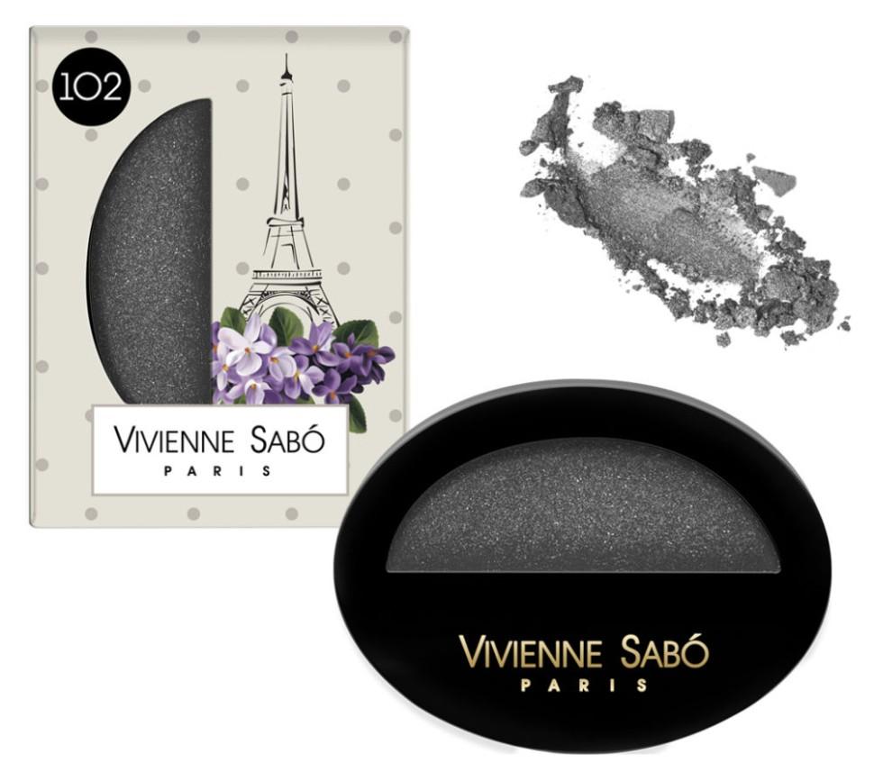 Vivienne Sabo Тени для век Мерцающие (102 черный кристалл)Vivienne Sabo<br>Красивые композиционно и просто красивые, эти тени - настоящее <br>воплощение легендарного французского art de vivre, искусства жить. Один <br>вид розы на стеганой бархатной подушечке настраивает на игривый лад. Но <br>рабочие способности этих теней не уступают визуальному наслаждению - они<br> позволяют сделать очень продуманный макияж глаз. Текстура теней, повторяющая знаменитый узор  пье-де-пуль, <br>введенный в моду Коко Шанель - напоминание о том, что улица Риволи - <br>прекрасное место для шоппинга. Они идеальны как для несложного макияжа в<br> один тон, так и для модной техники smoky eyes. Изюминка теней мерцающих<br> Rue de Rivili для Вас: Тени Vivienne Sabo с мерцающими блестками - этот<br> эффект стал возможен благодаря натуральному серебру в составе. <br>Мерцающие тени на Ваших веках придадут взгляду волшебный магнетизм!<br><br>Вес г: 15<br>Бренд : Vivienne Sabo<br>Цвет : 102 черный кристалл<br>Способ нанесения : сухой<br>Эффект на веках : мерцающий<br>Тип теней : компактные<br>Страна производитель : Франция